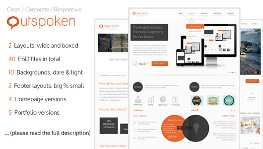 Outspoken - Clean Business PSD Template 