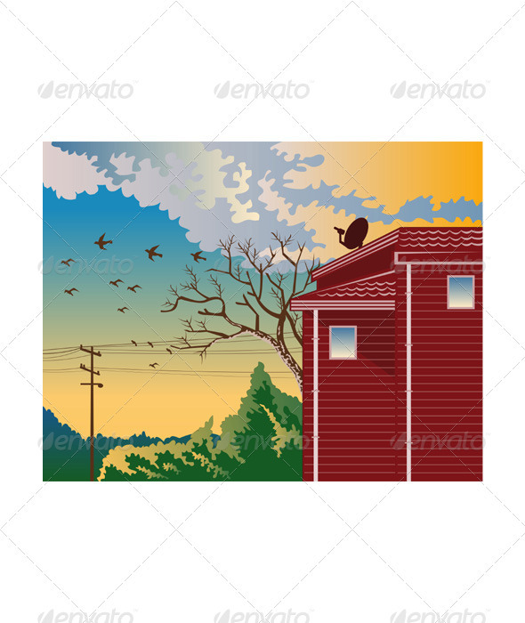 House With Satellite Dish Retro GraphicRiver - Vectors -  Objects  Buildings 3194754