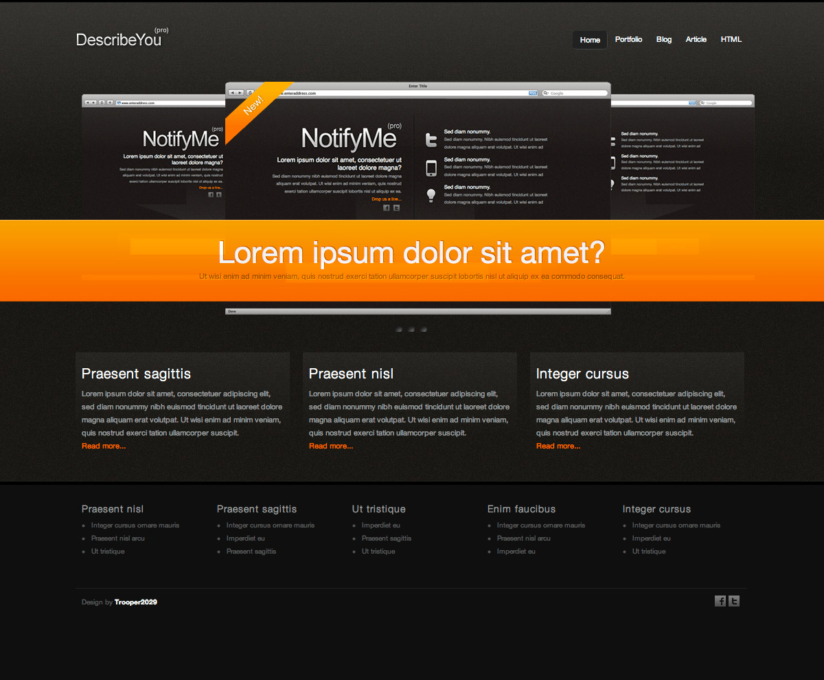 DescribeMe - Full frontpage view