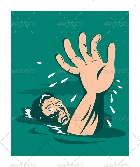 Of a man hand reaching out for help almost drowning retro style