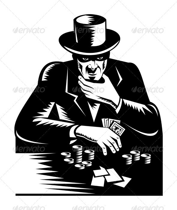 Poker Player Gambler Gambling Retro  GraphicRiver - Vectors -  Characters  People 3195105