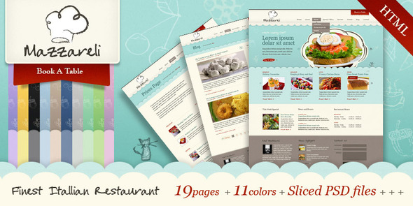 Mazzareli - Restaurant &amp; Cafe HTML Template - Restaurants &amp; Cafes Entertainment