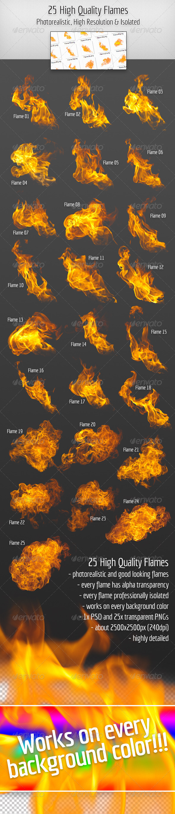 GraphicRiver 25 High Quality Hi-Res & Isolated Fire Flames 3199482