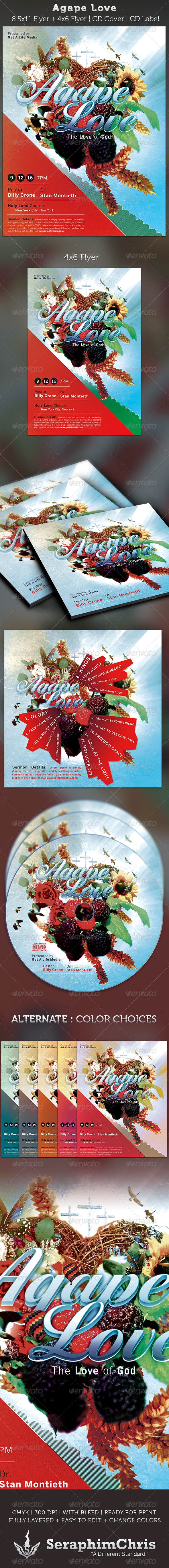 Agape Love Church Flyer and CD Art Template - Church Flyers