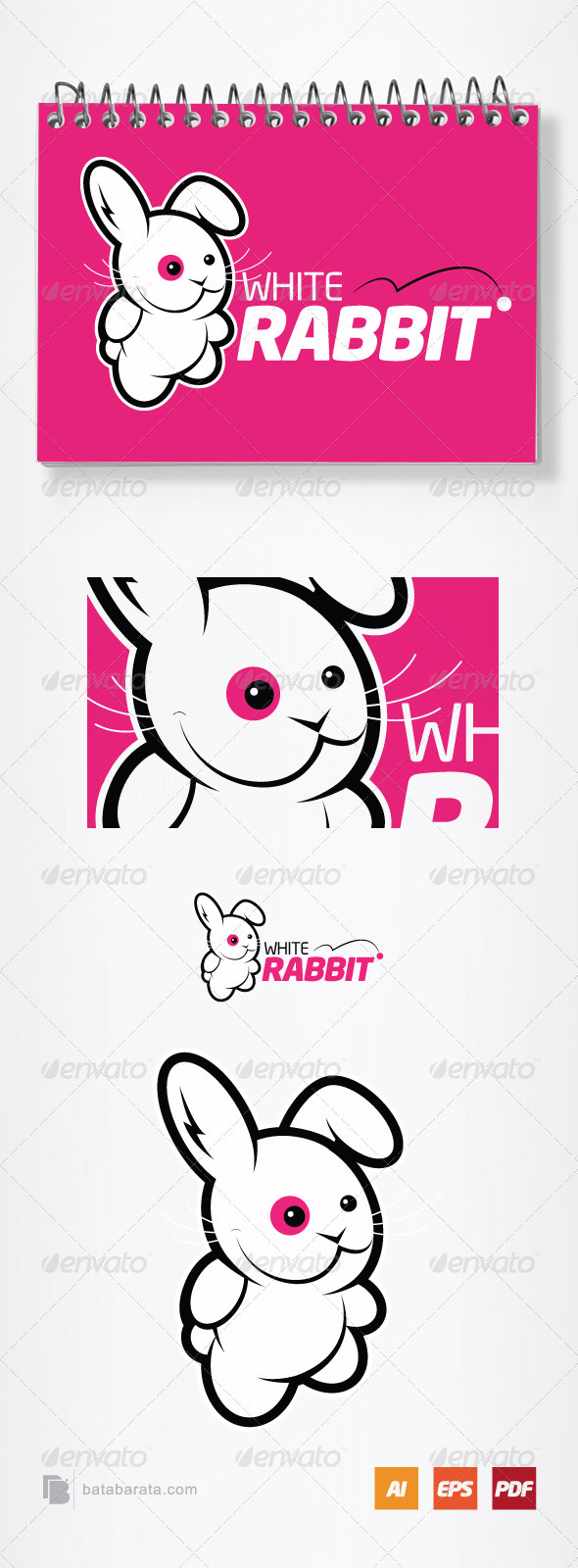 White Rabbit Logo Template - Vector Abstract