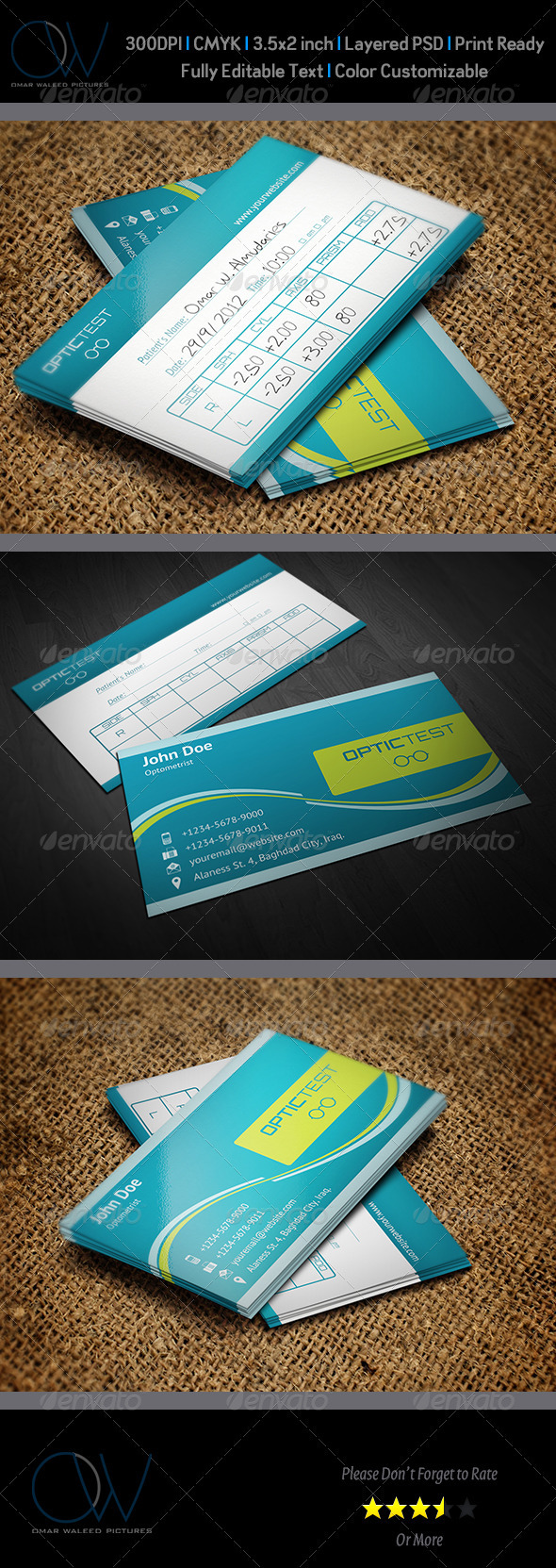 Optometrist with Test Table Business Card - Industry Specific Business Cards