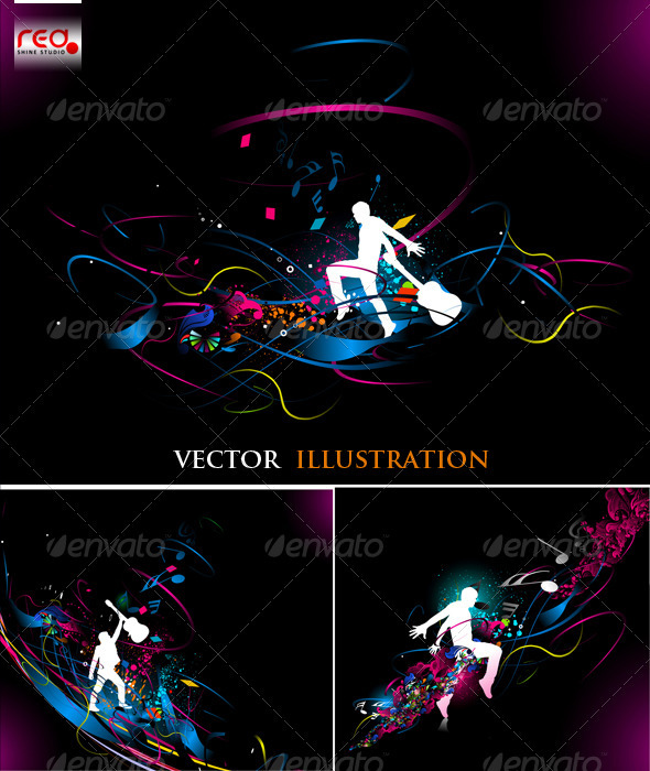 Dancing On Beautiful Music Background - Backgrounds Decorative