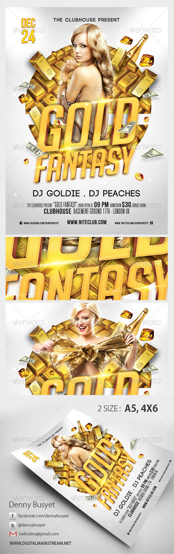 Gold Fantasy Nightclub Psd Flyer Template - Clubs & Parties Events