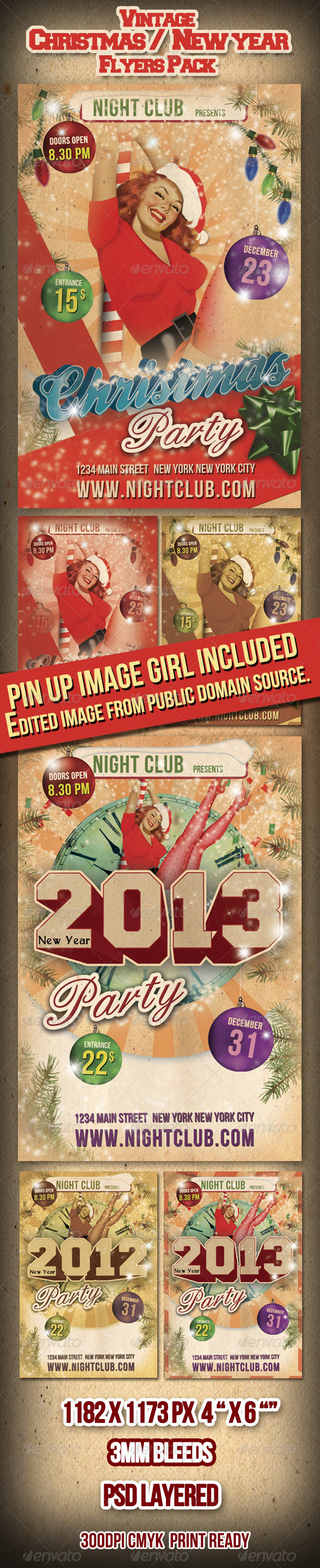 GraphicRiver Vintage Christmas 2012 New Year Flyers Pack 930266
