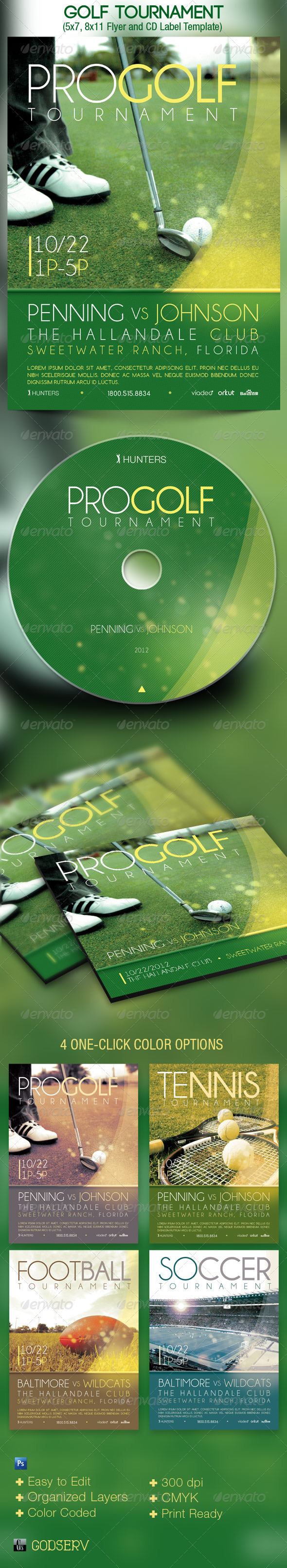 Golf Tournament Event Flyer and CD Template - Sports Events