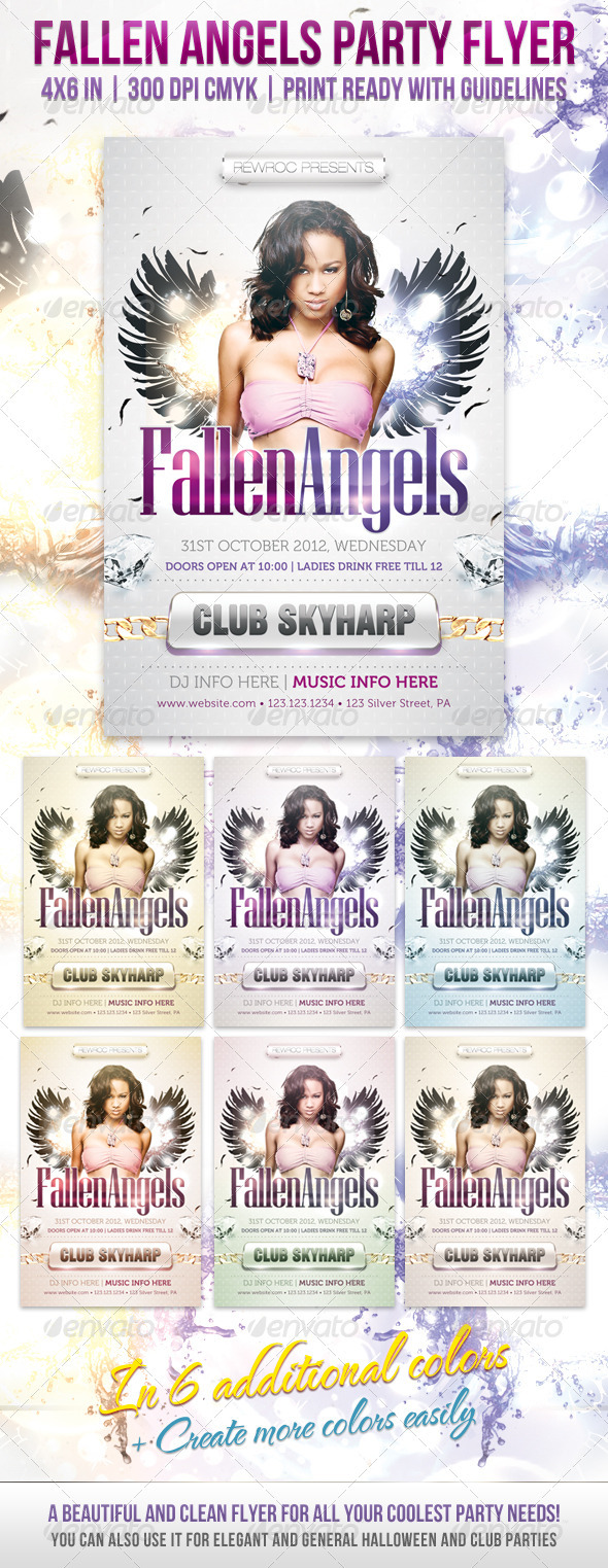 Fallen Angels Party Flyer - Clubs & Parties Events