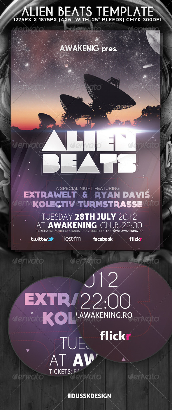 Alien Beats Flyer Template - Clubs & Parties Events