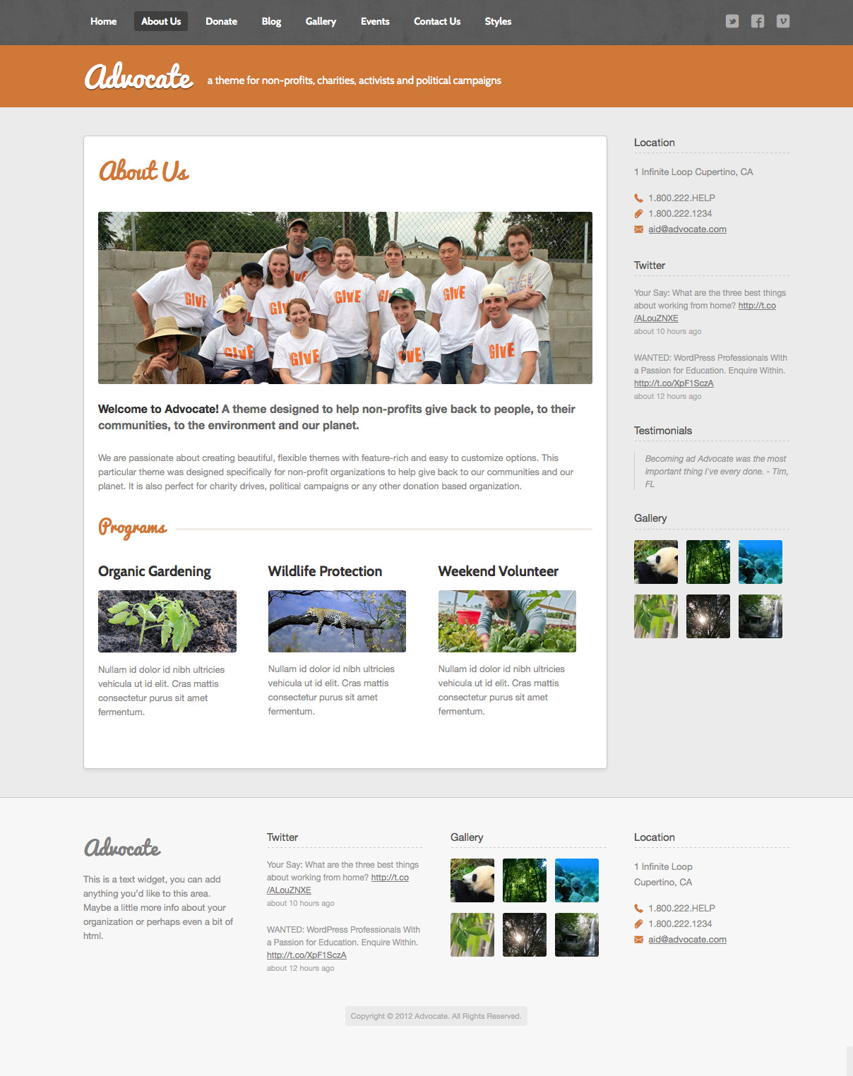 Advocate - A Nonprofit Responsive HTML Template  - About - The About page lets you display information about your cause or campaign as well as details about your programs or the members of your organization.