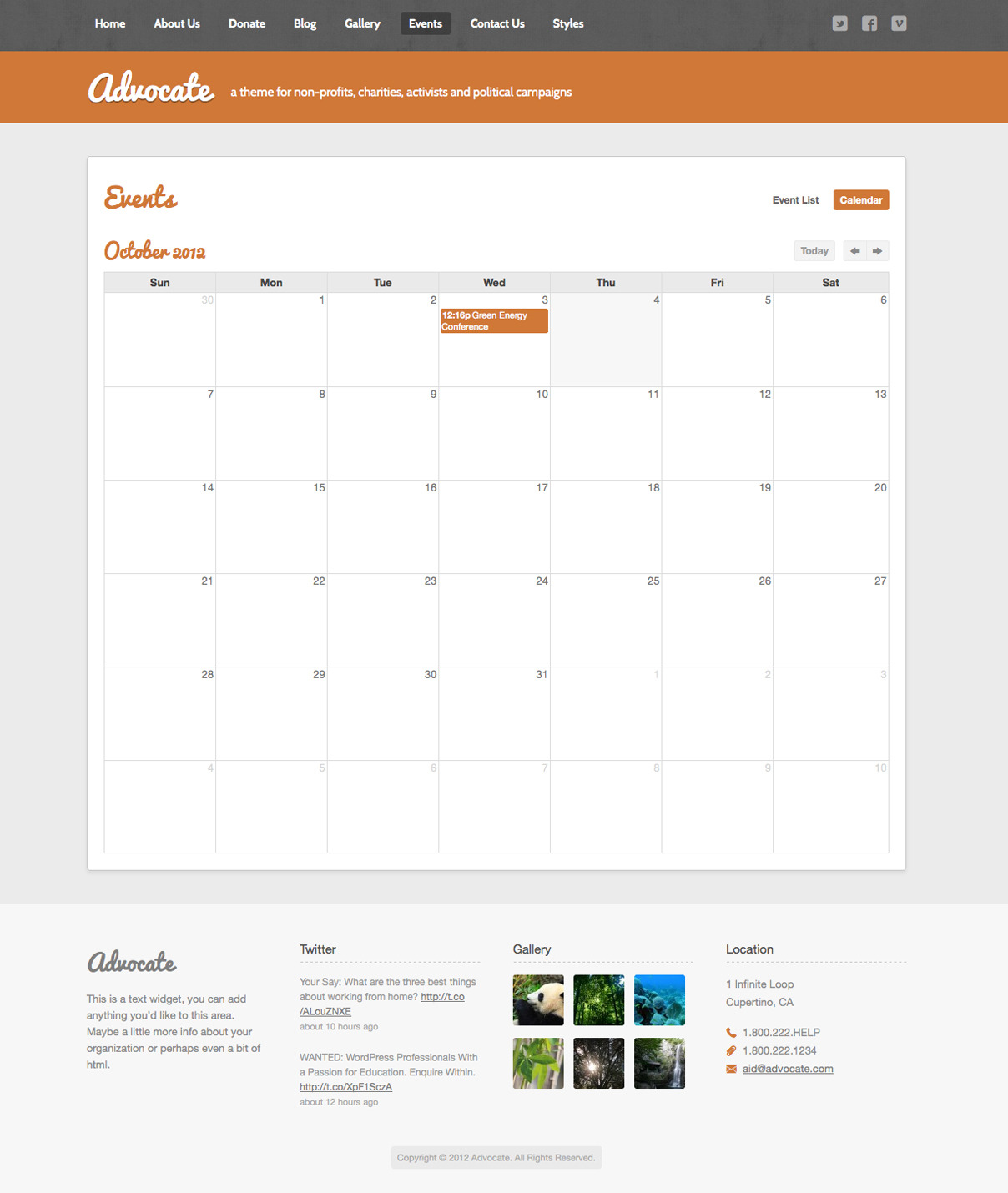 Advocate - A Nonprofit Responsive HTML Template  - Events Calendar - The events calendar lets you showcase your upcoming events in traditional calendar view or in a detailed list view.