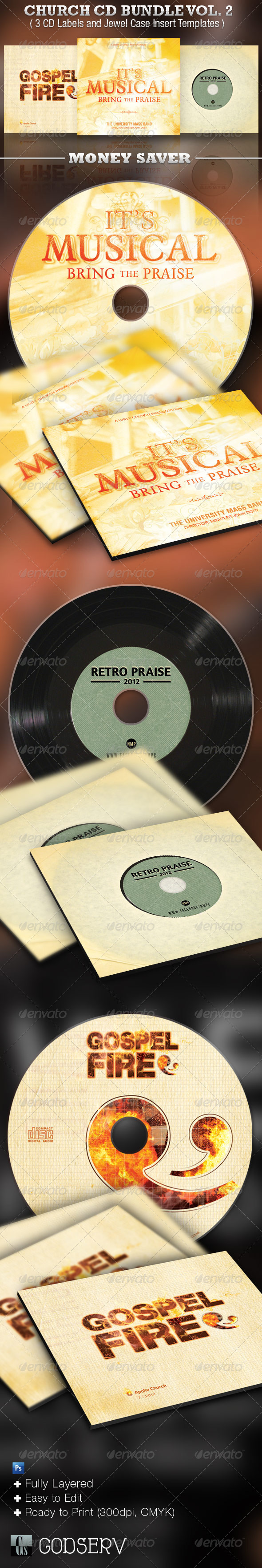 Church CD Template Bundle Vol. 2 - CD &amp; DVD artwork Print Templates