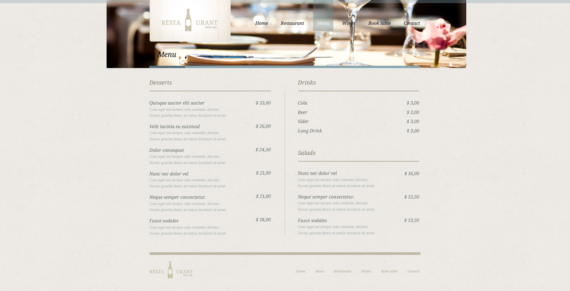 Restaurant - PSD Template
