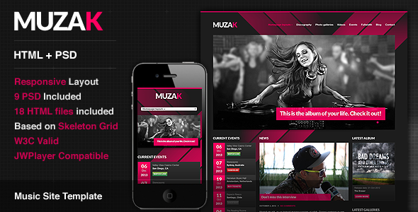 ThemeForest Muzak Premium Music Site Template 3220161