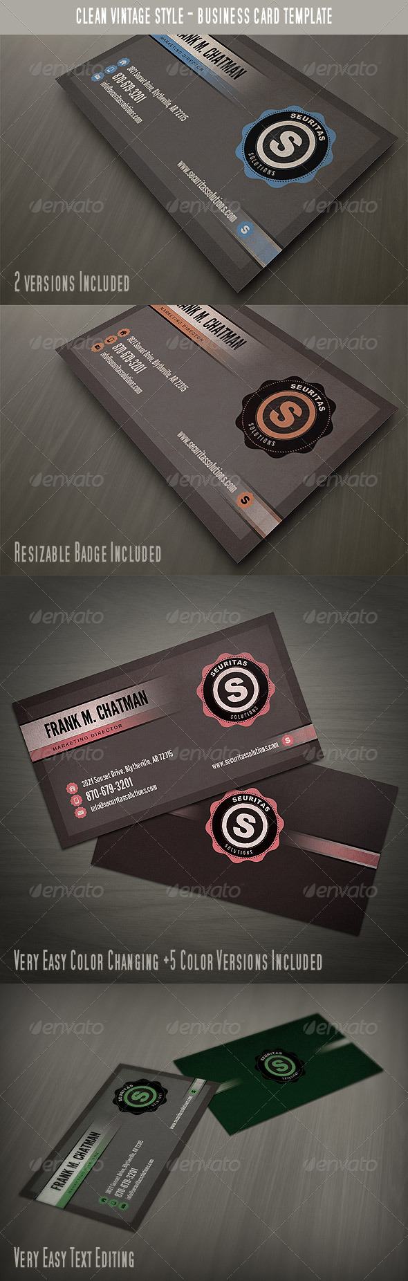 Clean Vintage Style Business Card - Corporate Business Cards