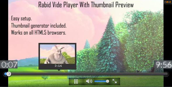 Rabid Video Player with Thumbnail preview   - CodeCanyon Item for Sale
