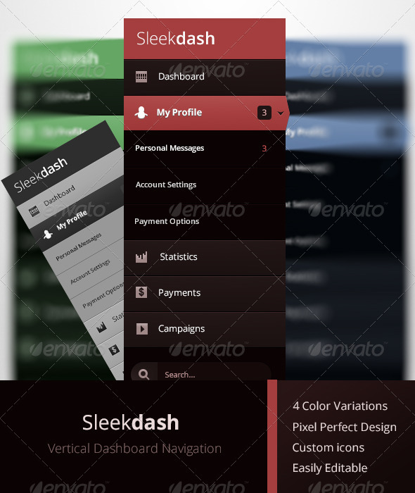 Vertical Dashboard Navigation - Navigation Bars Web Elements