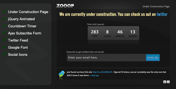 Zooop - Under Construction Page - Under Construction Specialty Pages