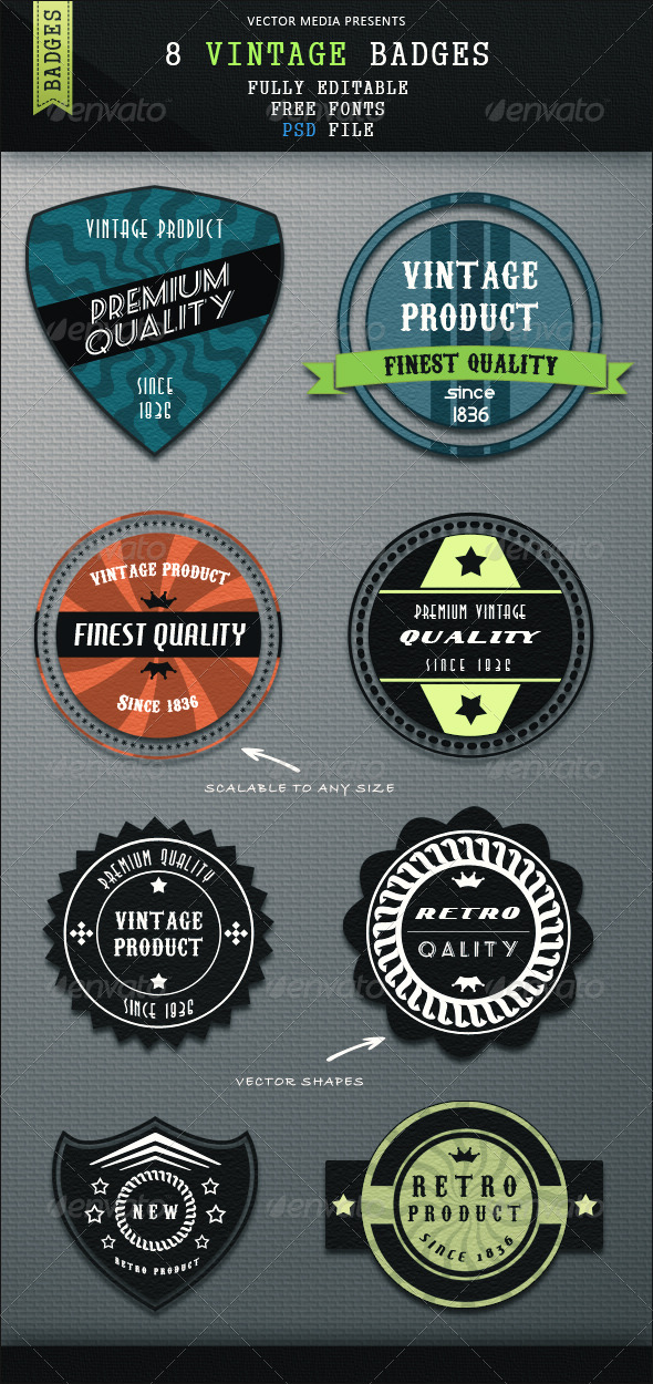 8 Vintage Badges - Badges & Stickers Web Elements
