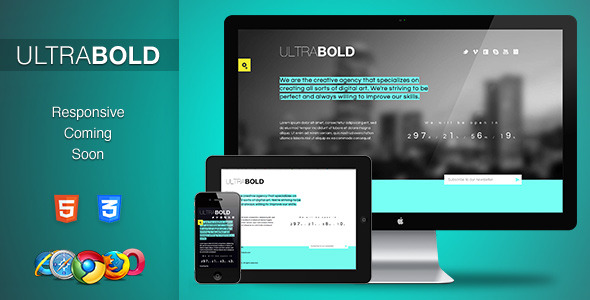 UltraBold. Responsive Coming Soon Page.