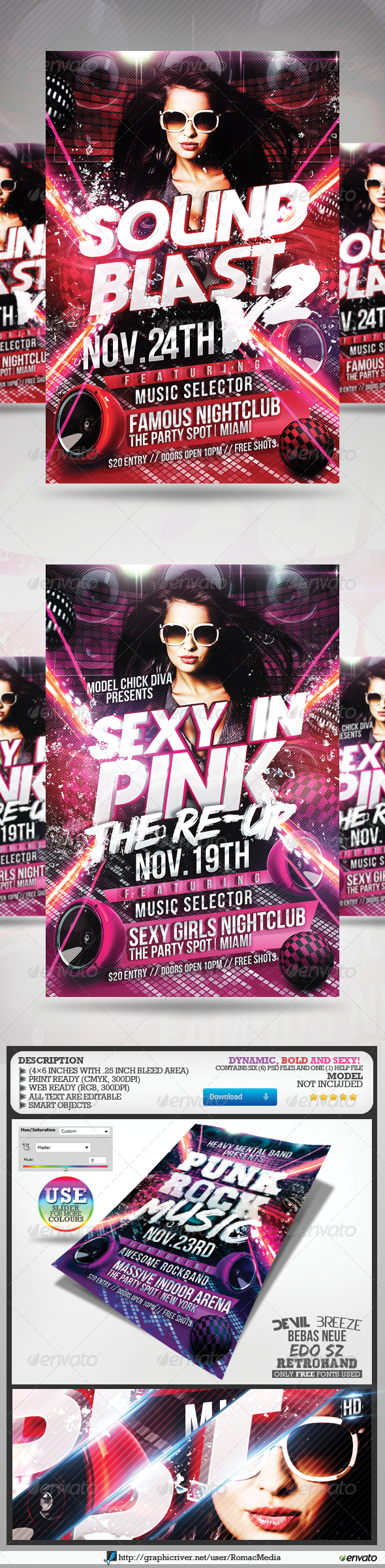 Club Sessions l Sound Blast Vol.2 Party Flyers - Clubs &amp; Parties Events