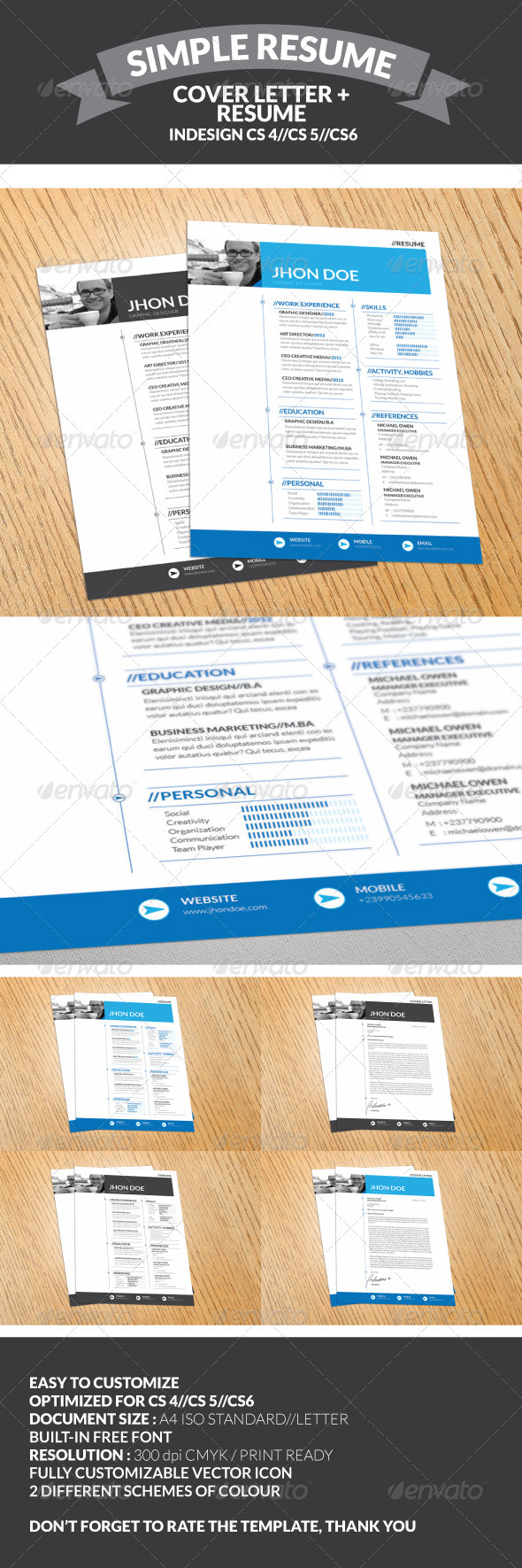GraphicRiver 2 Piece Professional Resume Template 3210188