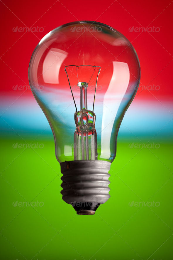 light bulb on color background - Stock Photo - Images