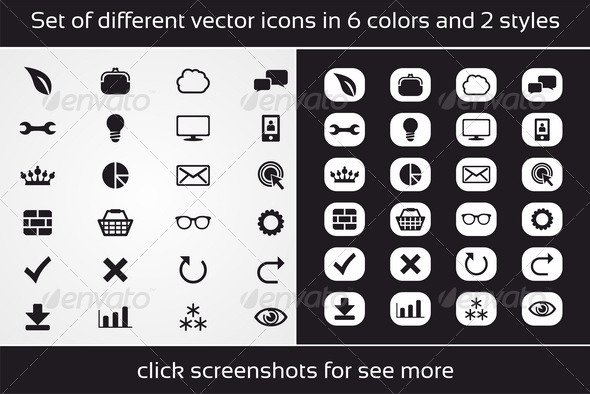 Set of Different Vector Icons in 6 Colors - Business Icons