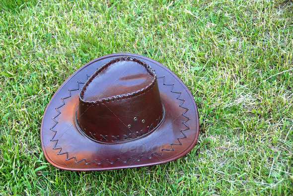 Brown cowboy hat - Stock Photo - Images