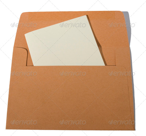 Orange brown envelope with cream letter isolated on white. - Stock Photo - Images