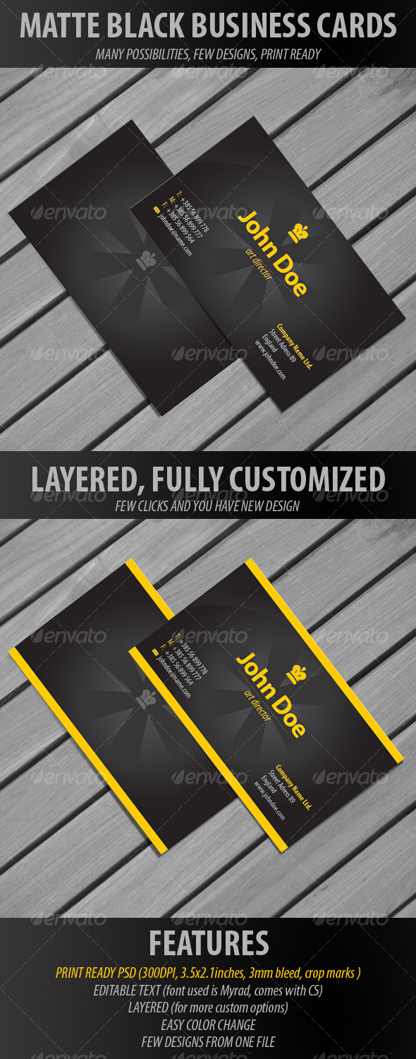 Matte Black Business Cards - Creative Business Cards