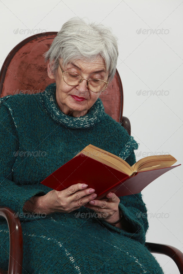 Old Woman Reading  - Stock Photo - Images