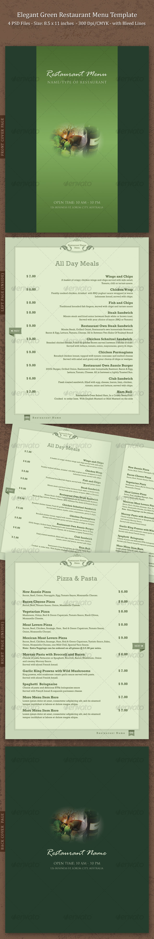 Elegant Green Restaurant Menu Template - Food Menus Print Templates