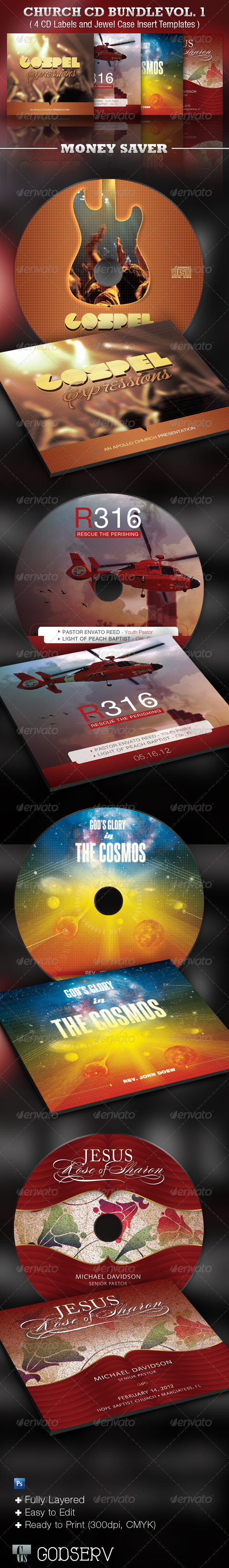 The Church CD Template Bundle Vol. 1 - CD &amp; DVD artwork Print Templates