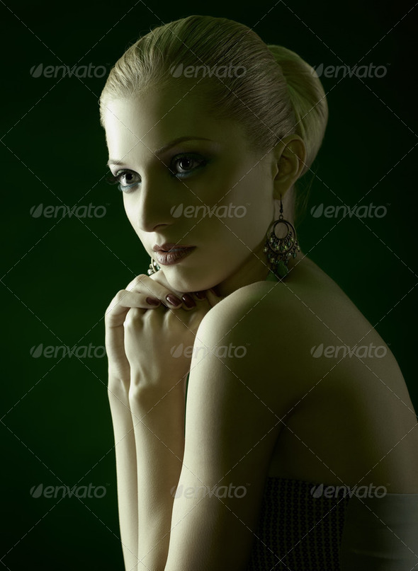 beautiful blonde on green - Stock Photo - Images