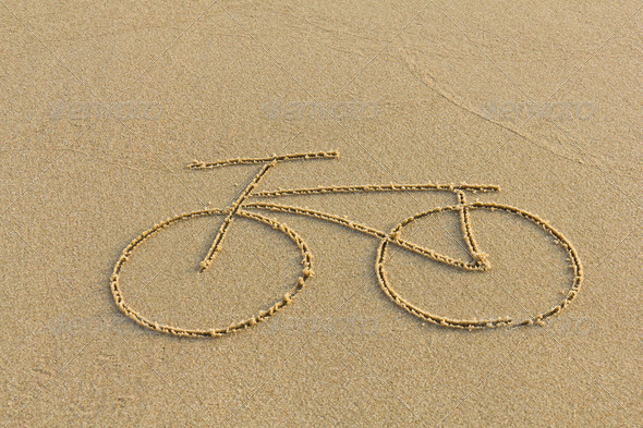 Simple Bicycle Drawing a Bicycle Drawing on The Sand