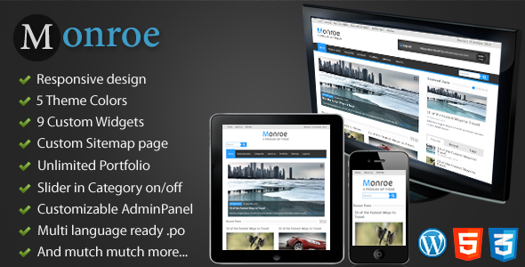 ThemeForest Monroe Responsive WordPress Magazine News 3144261