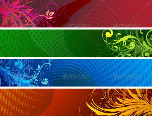 Floral banners - Backgrounds Decorative