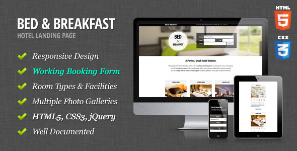 Bed & Breakfast - Hotel Landing Page - Preview image.
