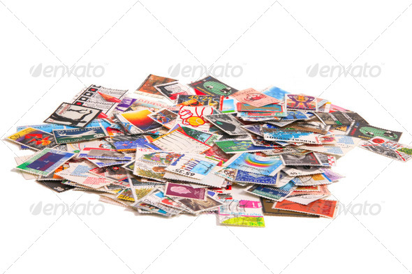Dutch stamps on a bunch - Stock Photo - Images