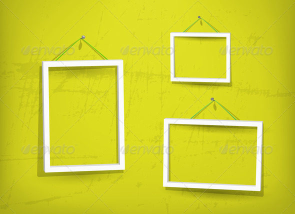 White frame on the wall - Stock Photo - Images