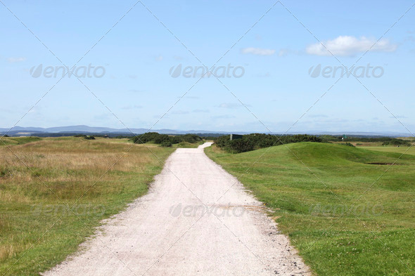 Road on the golflinks - Stock Photo - Images