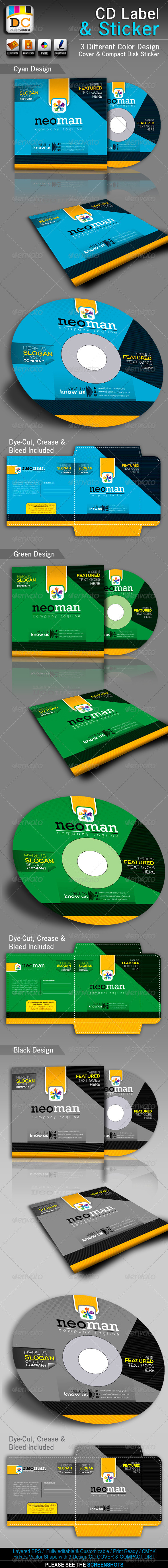 NeoMan_CD Sleeve/Label & Sticker - Packaging Print Templates