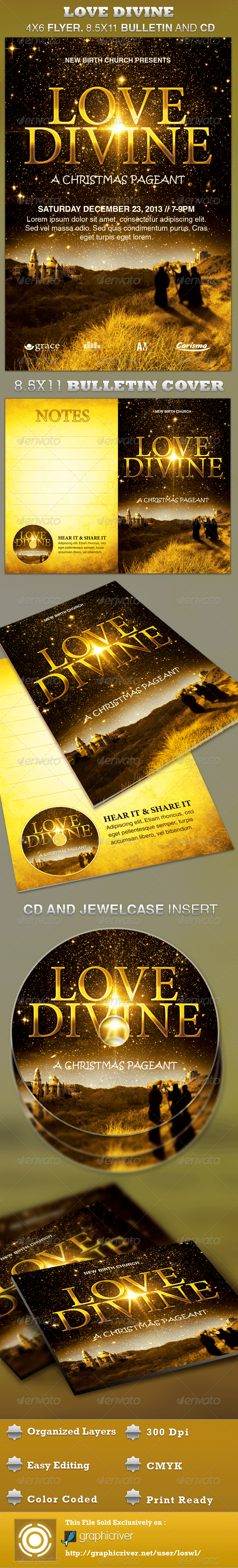 GraphicRiver Love Divine Flyer Bulletin and CD Template 3235369