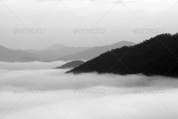 Black and white, The fog mist and the mountain in Thailand - Stock Photo - Images