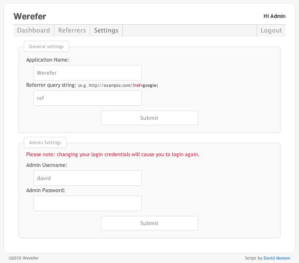 Werefer - Website referrer tracker - Change the cretin settings for the application