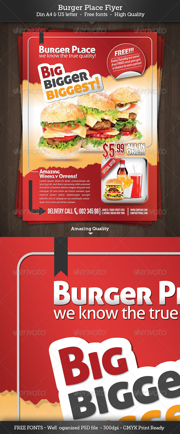 GraphicRiver Burger Place - Fast Food Flyer